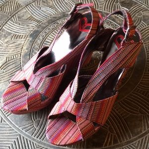 MADELINE Rella Woven Fabric Wedge Heels Size 8.5